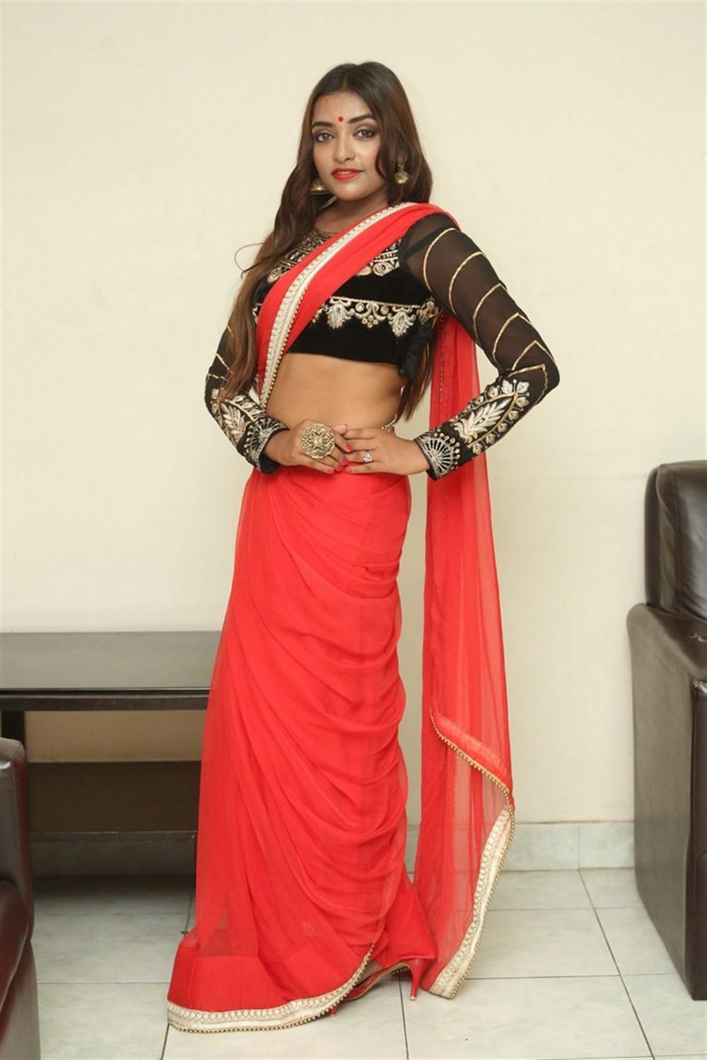Actress Ashi Roy Saree Pics @ KS 100 Movie Audio Launch