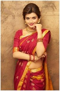 Actress Ashna Zaveri Red Saree Photo Shoot Images