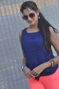 Asmita Sood Hot Stills in Dark Blue Sleeveless T-Shirt