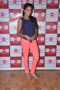Actress Asmita Sood Stills in Blue Sleeveless T-Shirt & Light Red Pant