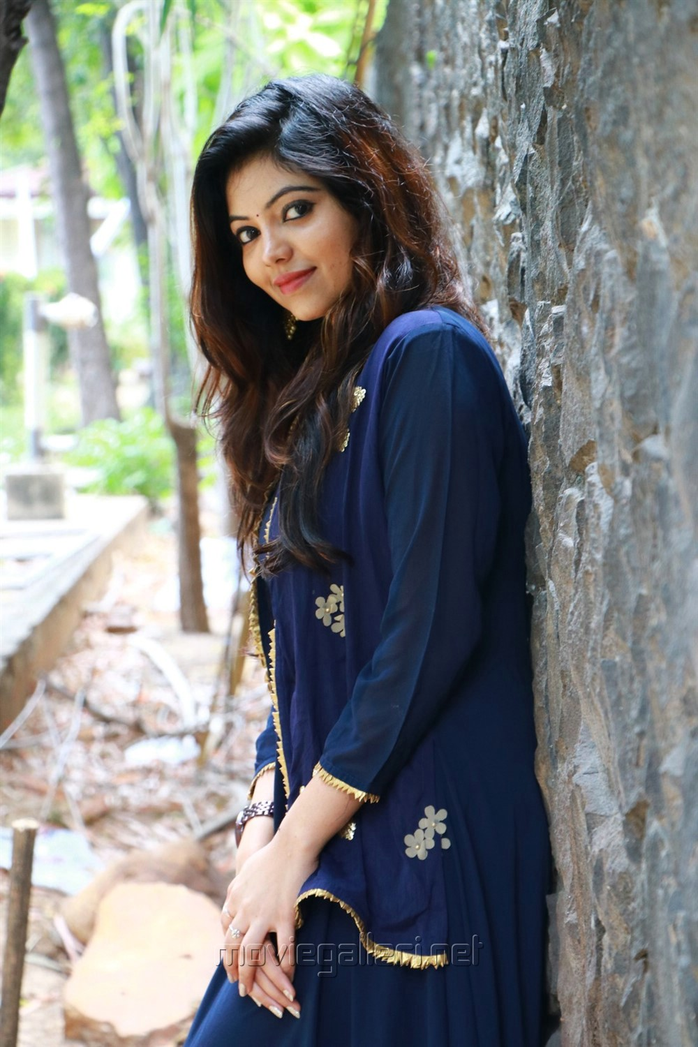 Actress Athulya Ravi in Dark Blue Dress Images