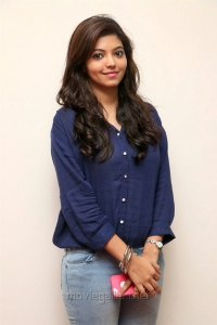 Tamil Actress Athulya Stills in Blue Shirt & Faded Jeans Pant