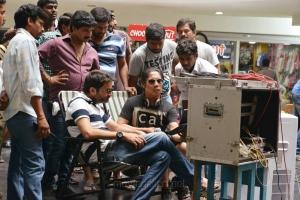 Trivikram Srinivas, Peter Hein at Attarintiki Daredi Movie Working Stills
