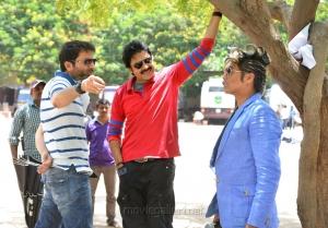 Pawan Kalyan, Trivikram Srinivas, Peter Hein  at Attarintiki Daredi Movie Working Stills