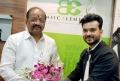 Chief Guest Gopal Shetty & Shashank Narsaria (Owner, Basic Elements-Pro Unisex Salon) at the inauguration of Basic Elements-Pro Unisex Salon in Malad, Mumbai.