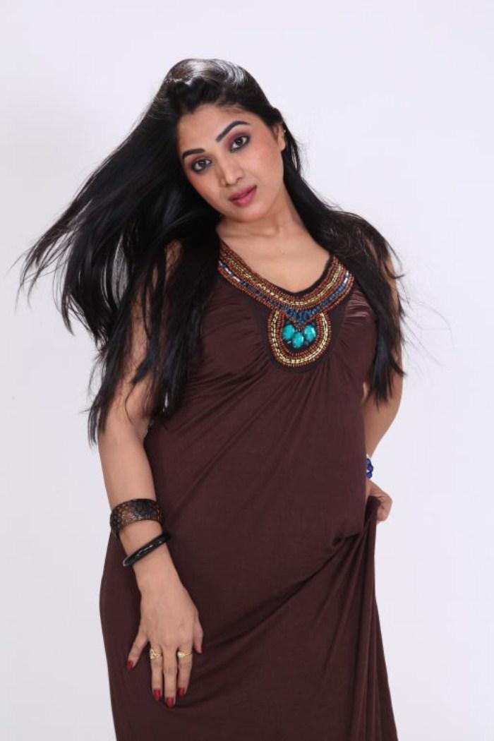 Blood Movie Actress Avanika in Long Sleeveless Dress