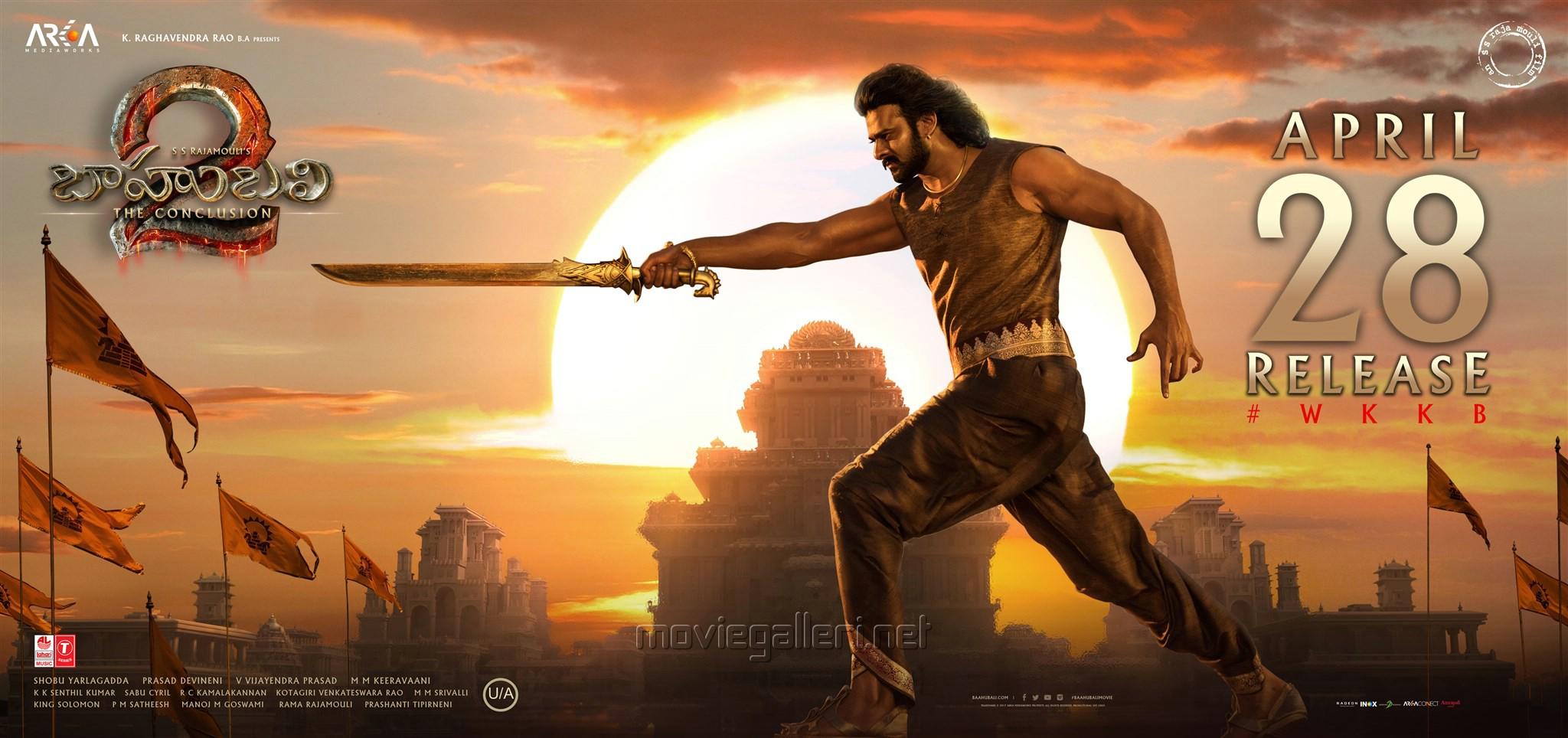 Actor Prabhas in Baahubali 2 Movie April 28 Release Wallpapers