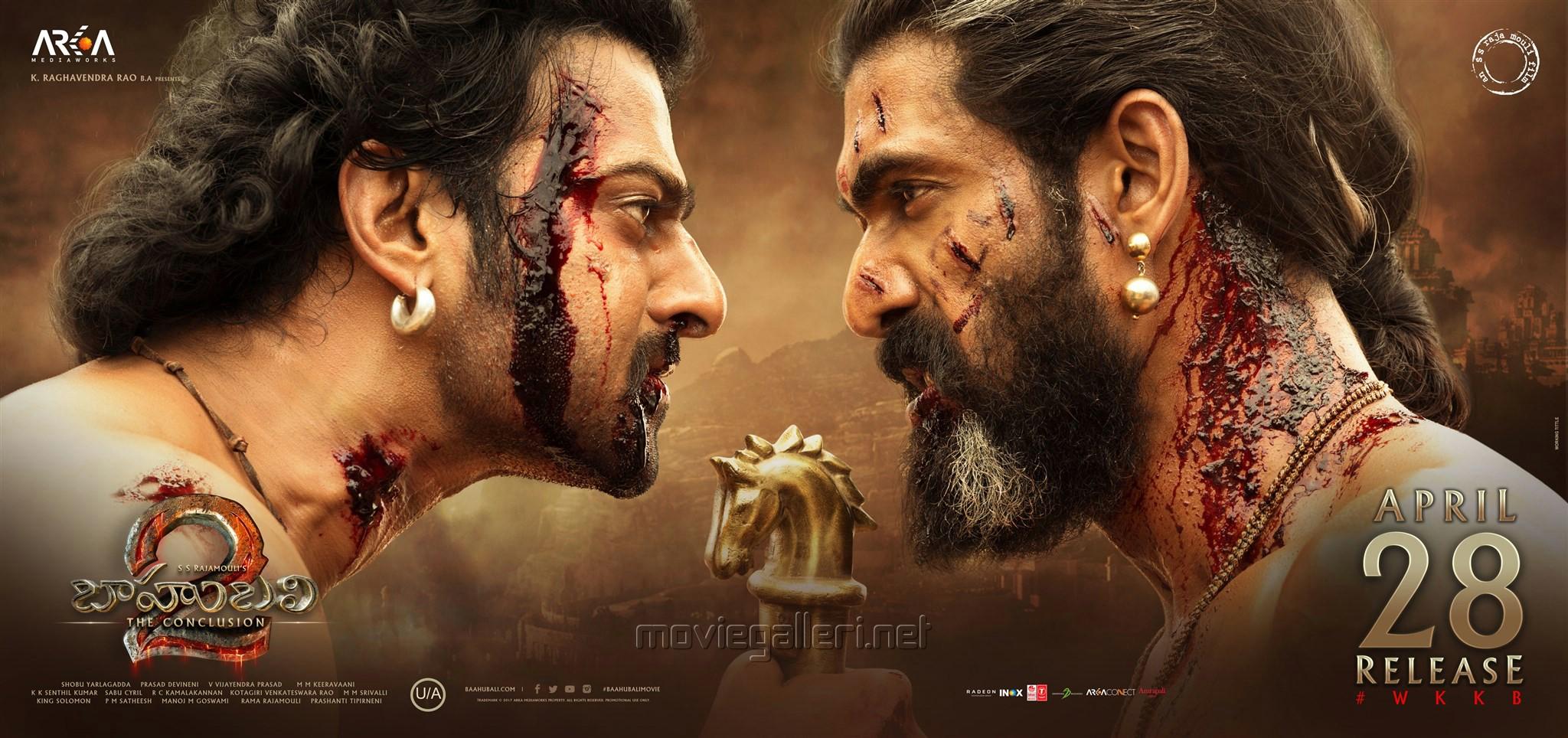 Prabhas, Rana Daggubati in Baahubali 2 Movie April 28 Release Wallpapers