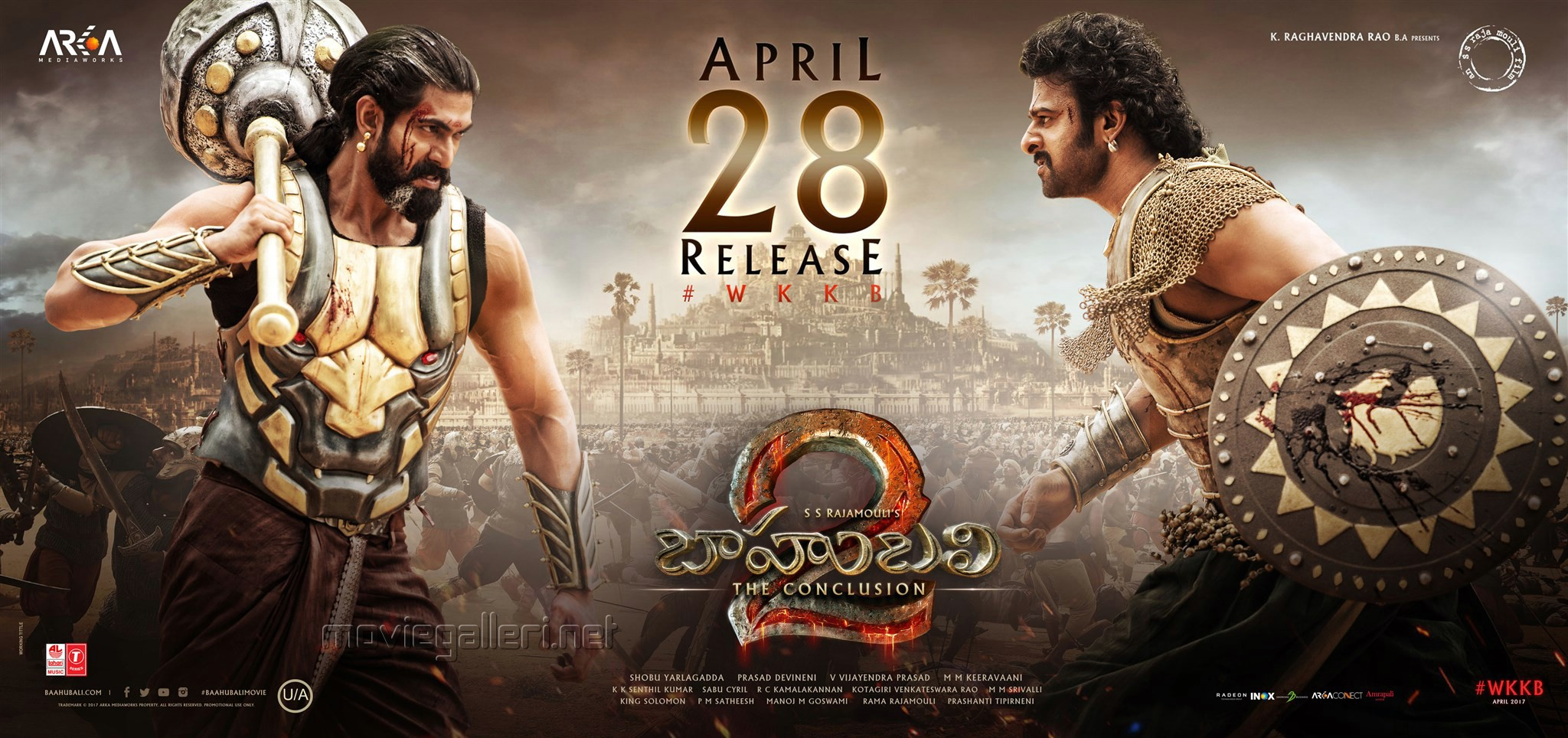 Rana Daggubati, Prabhas in Baahubali 2 Movie April 28 Release Wallpapers
