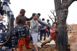 Prabhas, Peter Hein, SS Rajamouli @ Bahubali Movie Working Stills