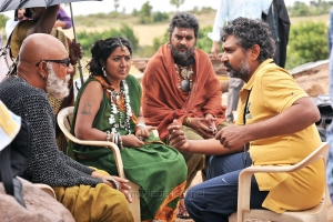Sathyaraj, Rohini, SS Rajamouli @ Bahubali Movie Working Stills