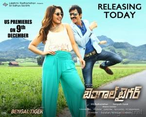 Rashi Khanna, Raviteja in Bengal Tiger Movie Release Wallpapers