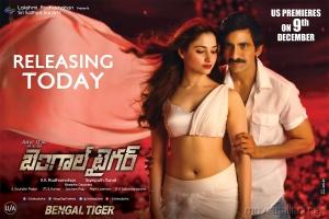 Tamanna, Ravi Teja in Bengal Tiger Movie Release Wallpapers