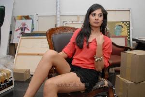Bhanu Shree Mehra Hot Images in Red Shirt & Black Skirt