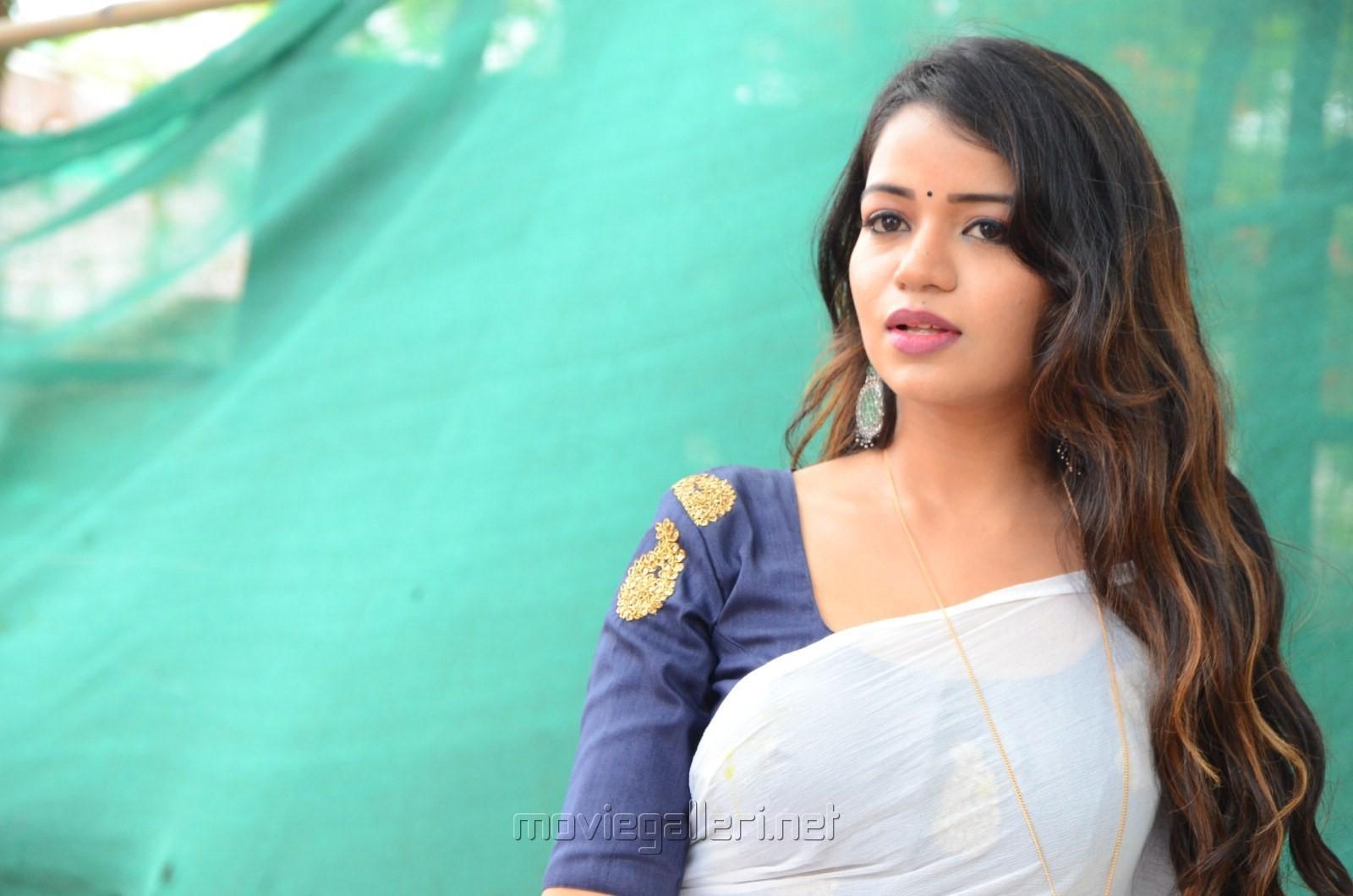 Actress Bhavya Sri Saree Photos @ Udyama Simham Movie Opening