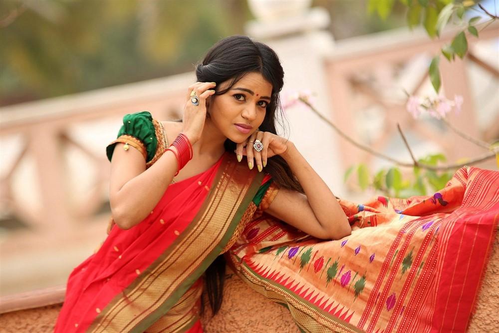 Actress Bhavya Sri Pattu Saree Photos at Silk India 2018 Launch