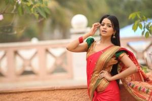 Telugu Actress Bhavya Sri in Pattu Saree Photos