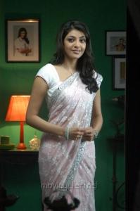 Actress Kajal Agarwal Hot Saree Stills in Brindavanam
