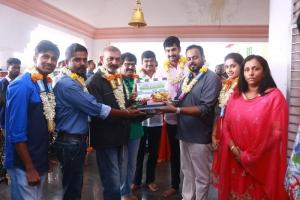 Radhamohan, Vivek, Arulnithi, Dhanya @ Brindhavanam Movie Poojai Stills