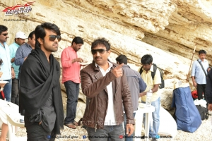 Ram Charan, Sreenu Vaitla @ Bruce Lee Movie Working Stills