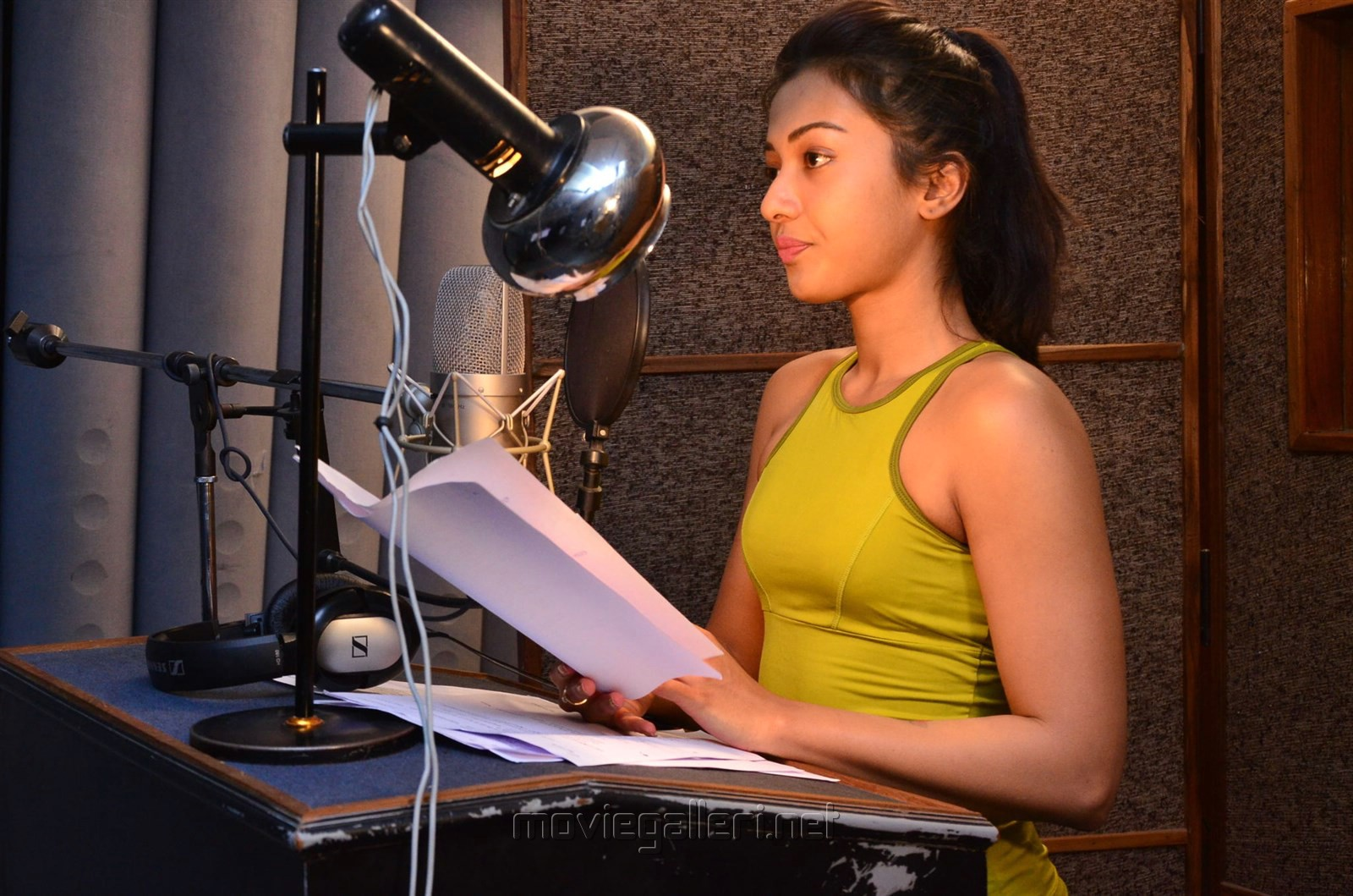 Actress Catherine Tresa dubbing for Gautham Nanda Photos