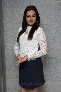 Actress Catherine Tresa Stills in White Top & Business Skirt