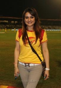Actress Sonia Agarwal at CCL 3 Chennai Rhinos Vs Karnataka Bulldozers Match Photos