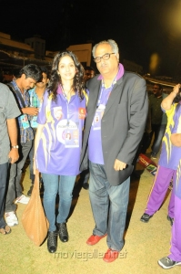 Sridevi, Boney kapoor at CCL 3 Telugu Warriors Vs Mumbai Heroes Match Photos