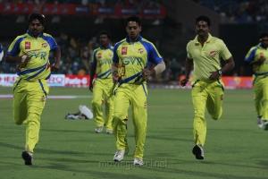 Bharath, Prem @ CCL 4 Chennai Rhinos Vs Karnataka Bulldozers Match Photo