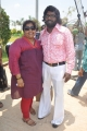 Actor Karunas with wife Grace at Chandamama Movie Shooting Spot Stills