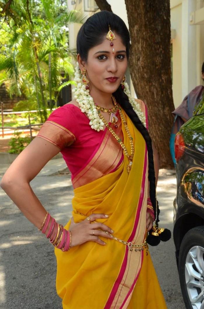 Actress Chandini Chowdary Silk Saree Cute Photos