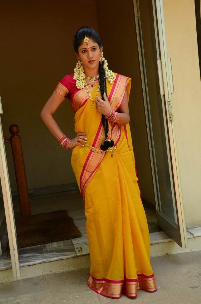 Beautiful Short Film Actress Chandini Chowdary in Silk Saree Photos