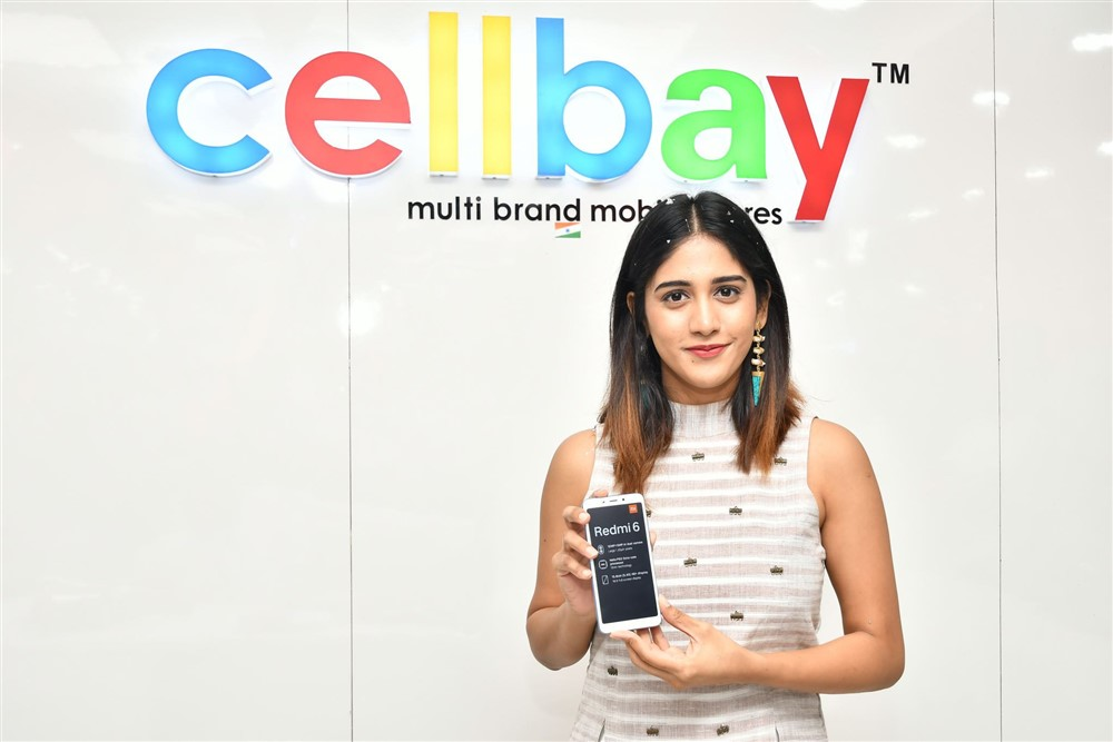 Actress Chandini Chowdary launches RedMi 6 Mobile at Cellbay Showroom
