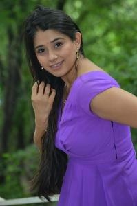 Actress Chandni Bhagwanani in Violet Dress Pics @ Andamaina Lokam Movie Opening