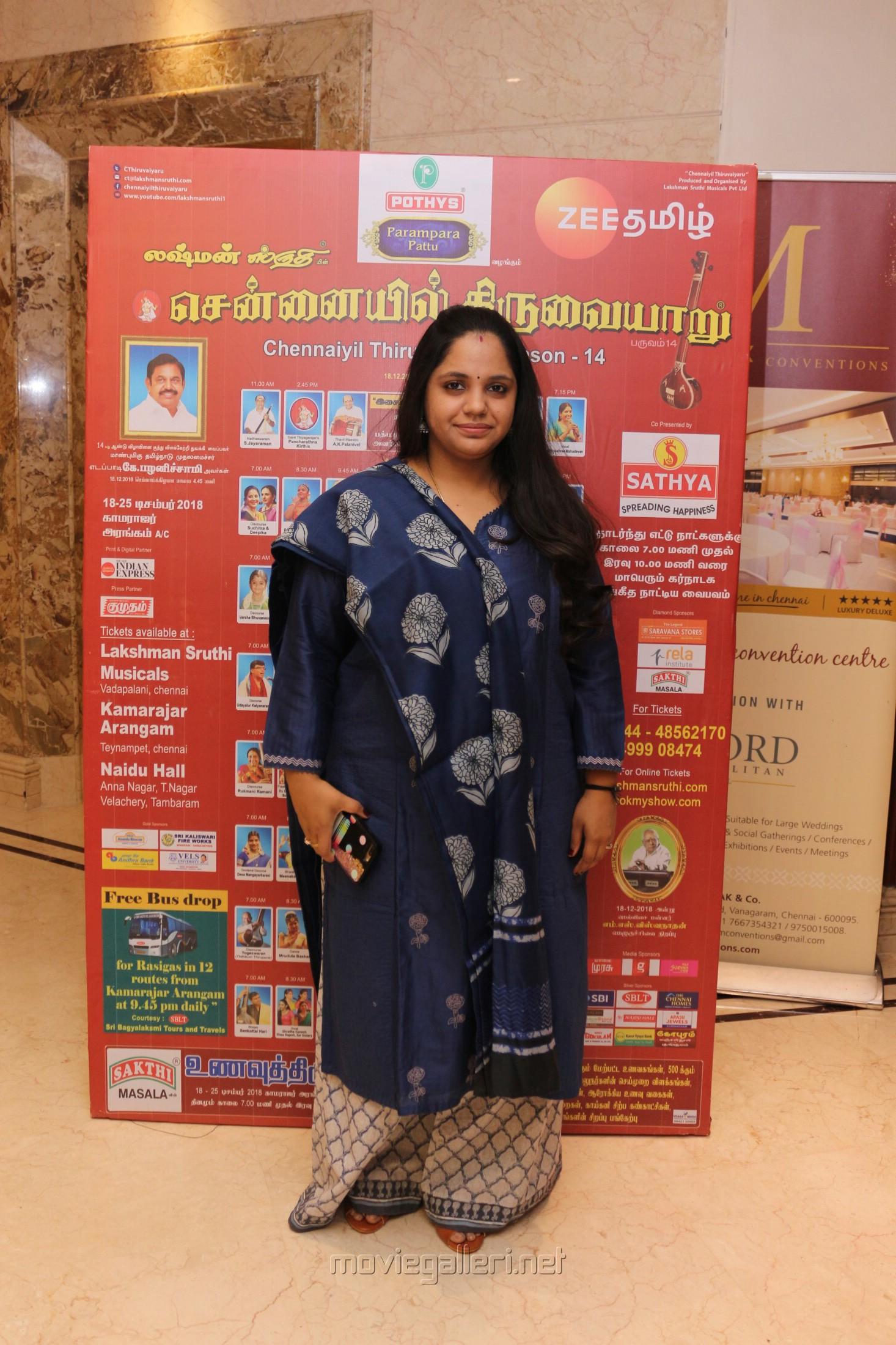 Singer Saindhavi @ Chennaiyil Thiruvaiyaru 2018 Season 14 Press Meet Stills