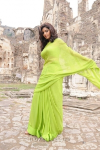 Colours Swathi in Green Saree Hot Pics