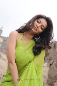 Colours Swathi in Green Saree Photos