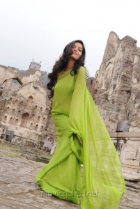 Colours Swathi Latest Photos in Green Saree