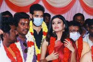 Sibiraj, Oviya @ Contractor Nesamani Movie Pooja Stills