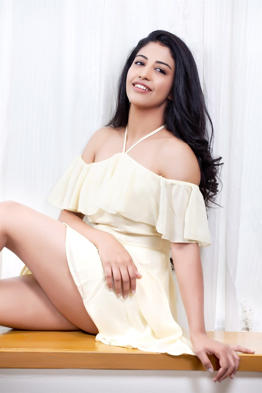 Telugu Actress Daksha Nagarkar Hot Photos in White Dress