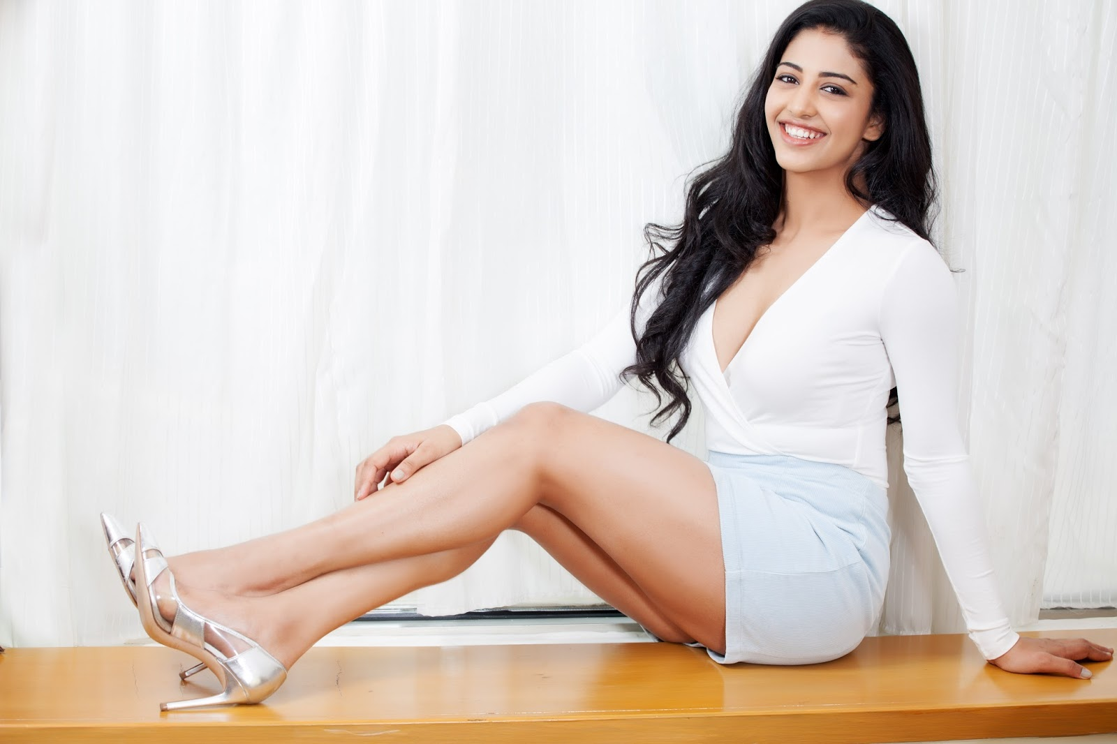 Telugu Actress Daksha Nagarkar in White Dress Hot Photos