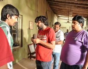 Director Jeevan Reddy, Krishnudu at Dalam Movie Location Photos