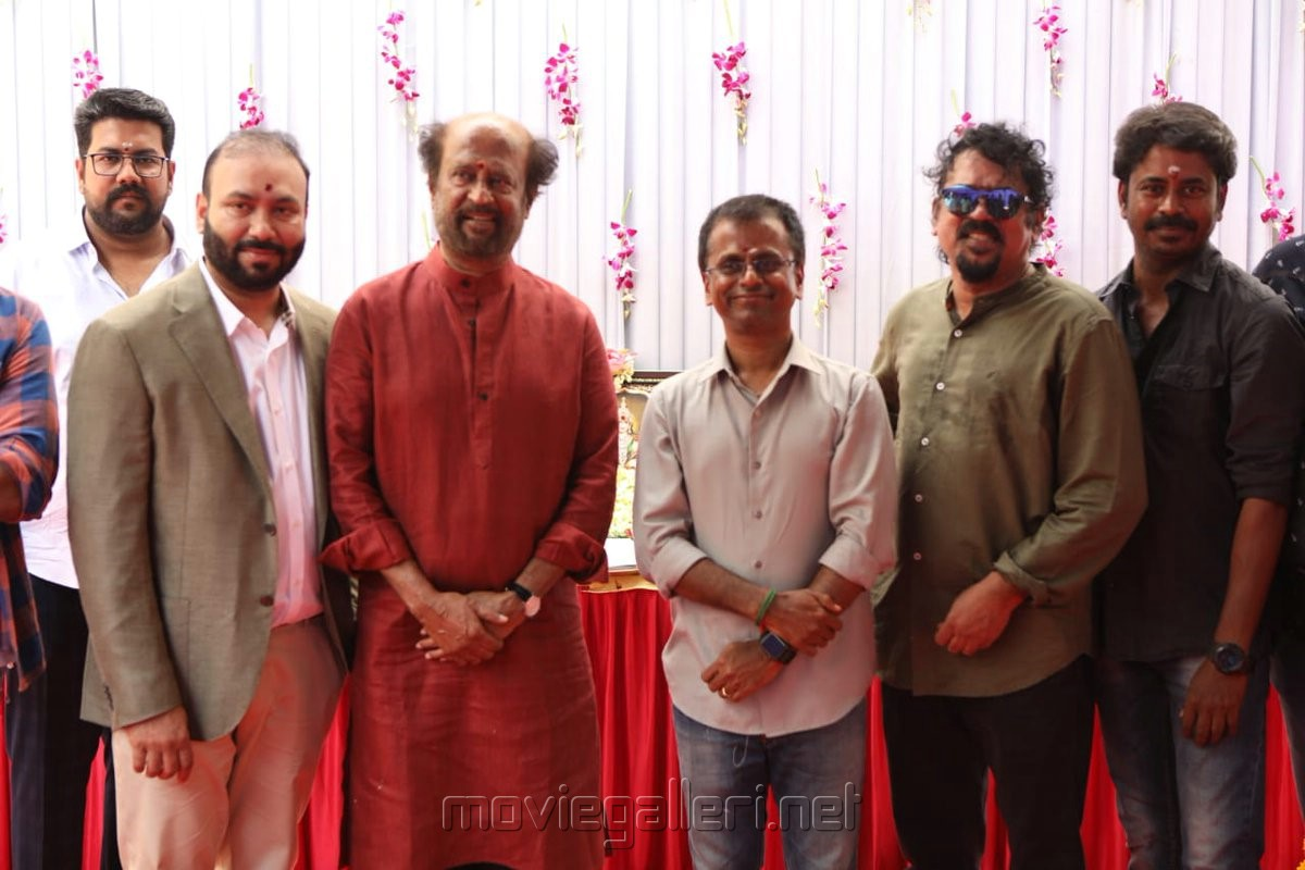 Allirajah Subaskaran, Rajinikanth, AR Murugadoss, Santosh Sivan @ Darbar Movie Pooja Stills
