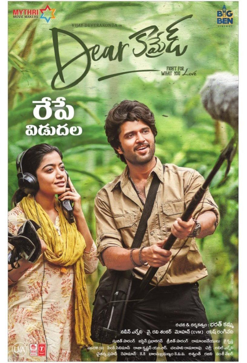Rashmika Mandanna, Vijay Deverakonda in Dear Comrade Movie Release Posters