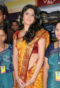Deeksha Seth Silk Saree Stills