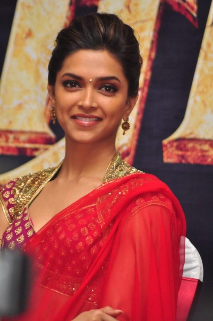 Deepika Padukone Hot Pics in Red Saree @ Rana Press Meet ...