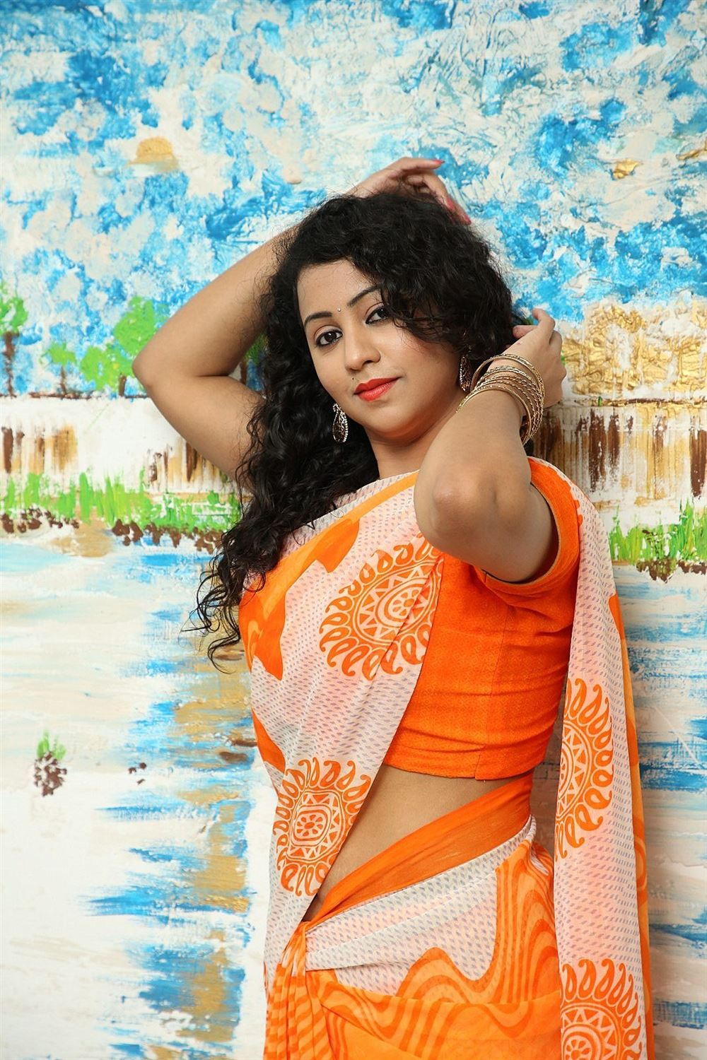 Telugu Actress Deepu Naidu in Saree Stills