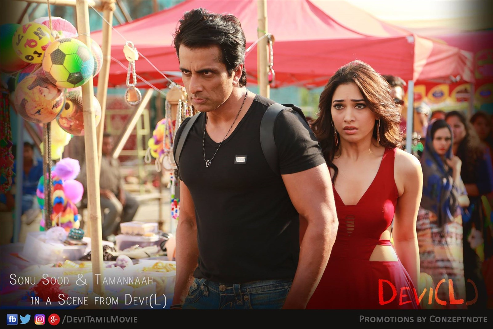 Tamanna, Sonu Sood in Devi(L) Movie Stills