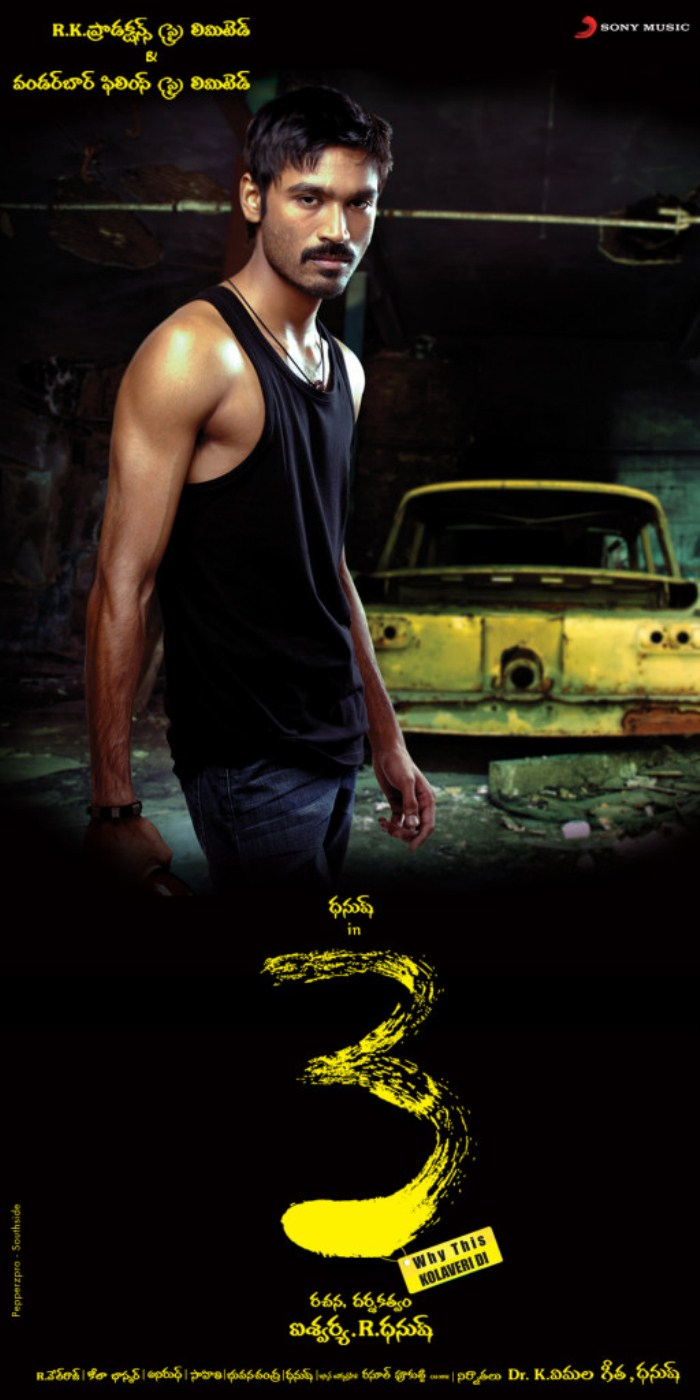 Dhanush in 3 Movie Telugu Posters