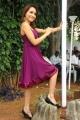 Actress Dhriti Hot Stills in Red Violet Color Dress